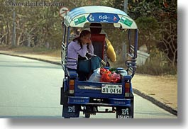 asia, cars, cells, girls, horizontal, laos, luang prabang, phones, transportation, tuk tuk, photograph