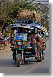 asia, cars, laos, luang prabang, transportation, tuk tuk, vertical, photograph