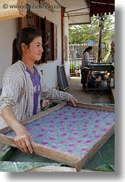 asia, emotions, flowers, laos, luang prabang, smiles, tray, vertical, weaving village, womens, photograph