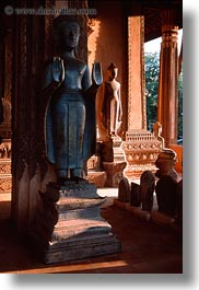 asia, buddhas, laos, statues, vertical, vientiane, photograph