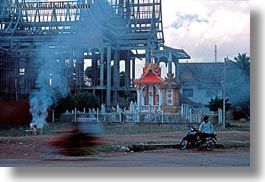 asia, busy, horizontal, laos, motorcyclist, scenes, vientiane, photograph