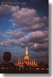 asia, clouds, laos, palace, sunsets, vertical, vientiane, photograph