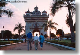asia, horizontal, laos, monument, patuxay, people, vientiane, walking, photograph