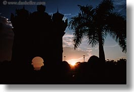 asia, horizontal, laos, monument, patuxay, sunsets, vientiane, photograph