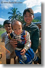 asia, asian, babies, brothers, emotions, hmong, laos, people, poverty, smiles, vertical, villages, photograph