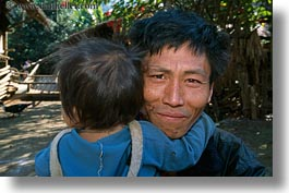 asia, asian, babies, emotions, fathers, hmong, horizontal, laos, people, poverty, smiles, villages, photograph