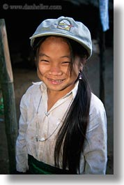 asia, asian, baseball, cap, emotions, girls, hmong, laos, people, poverty, smiles, vertical, villages, photograph