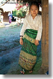 asia, asian, dresses, emotions, girls, green, hmong, laos, people, poverty, smiles, vertical, villages, white, photograph