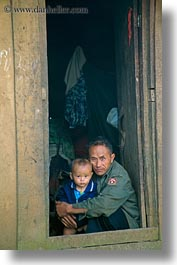 asia, asian, babies, grandfather, hmong, laos, people, poverty, vertical, villages, photograph