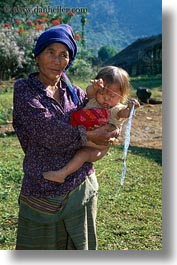 asia, asian, childrens, grandmother, hmong, laos, people, poverty, vertical, villages, photograph
