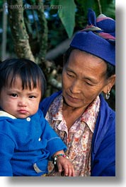 asia, asian, childrens, grandmother, hmong, laos, people, poverty, senior citizen, vertical, villages, photograph
