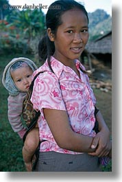 asia, asian, babies, emotions, hmong, laos, mothers, people, poverty, smiles, vertical, villages, photograph
