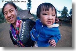 asia, asian, babies, emotions, fabrics, hmong, horizontal, laos, materials, mothers, people, poverty, smiles, villages, photograph