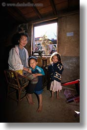 asia, asian, childrens, hmong, laos, mothers, people, poverty, vertical, villages, photograph