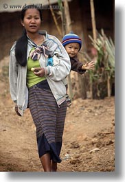 asia, asian, babies, hmong, laos, mothers, people, vertical, villages, walking, photograph