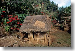 asia, hmong, horizontal, huts, laos, poverty, roofs, thatched, villages, photograph