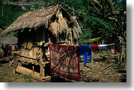 asia, hmong, horizontal, laos, laundry, poverty, roofs, thatched, villages, photograph