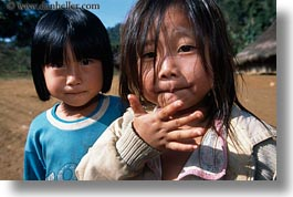 asia, girls, hmong, horizontal, laos, smiling, villages, photograph
