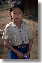 asia, girls, hmong, laos, smiling, vertical, villages, photograph