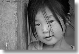 asia, asian, black, black and white, girls, haired, hmong, horizontal, laos, people, villages, photograph