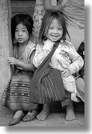 asia, asian, black, black and white, browns, girls, haired, hmong, laos, people, vertical, villages, photograph