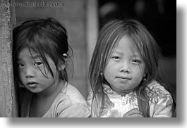 asia, asian, black, black and white, browns, girls, haired, hmong, horizontal, laos, people, villages, photograph
