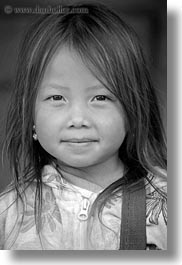 asia, asian, black and white, browns, girls, haired, hmong, laos, people, vertical, villages, photograph