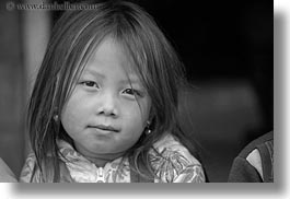 asia, asian, black and white, browns, girls, haired, hmong, horizontal, laos, people, villages, photograph