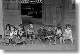 asia, asian, black and white, childrens, hmong, horizontal, laos, people, school, villages, photograph