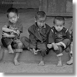 asia, asian, black and white, boys, hmong, laos, people, square format, threes, villages, photograph