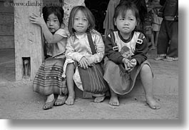 asia, asian, black and white, girls, hmong, horizontal, laos, people, threes, villages, photograph
