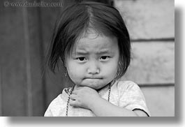 asia, asian, black and white, girls, hmong, horizontal, laos, people, toddlers, villages, photograph