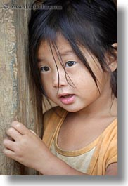 asia, asian, black, childrens, girls, haired, hmong, laos, people, vertical, villages, photograph