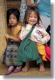 asia, asian, black, browns, childrens, girls, haired, hmong, laos, people, vertical, villages, photograph