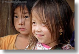 asia, asian, black, browns, childrens, girls, haired, hmong, horizontal, laos, people, villages, photograph