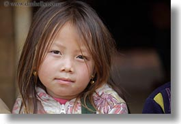 asia, asian, browns, childrens, girls, haired, hmong, horizontal, laos, people, villages, photograph