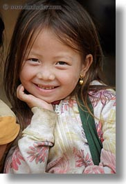 asia, asian, browns, childrens, girls, haired, hmong, laos, people, vertical, villages, photograph