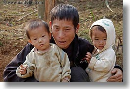 asia, asian, childrens, fathers, hmong, horizontal, laos, people, villages, photograph