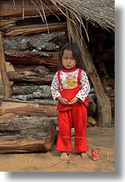 asia, asian, childrens, girls, hmong, huts, laos, people, red, vertical, villages, woods, photograph