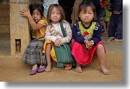 asia, asian, childrens, girls, hmong, horizontal, laos, people, threes, villages, photograph