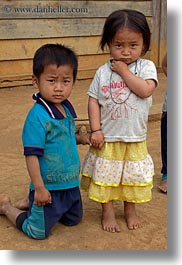 asia, asian, boys, childrens, girls, hmong, laos, people, toddlers, vertical, villages, photograph
