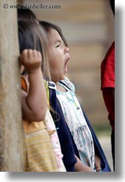 asia, childrens, girls, hmong, laos, vertical, villages, yawning, photograph