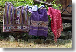 asia, fabrics, hmong, horizontal, laos, villages, photograph