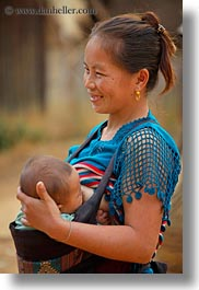 asia, hmong, infant, laos, mothers, nursing, vertical, villages, photograph