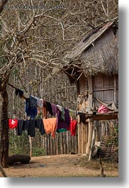 asia, hangings, hmong, huts, laos, laundry, thatched, vertical, villages, photograph