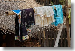 asia, hangings, hmong, horizontal, huts, laos, laundry, thatched, villages, photograph
