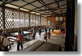 asia, buildings, childrens, classroom, hmong, horizontal, laos, running, school, structures, villages, photograph