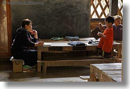 asia, buildings, childrens, classroom, hmong, horizontal, laos, school, structures, teacher, villages, photograph