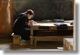 asia, buildings, classroom, hmong, horizontal, laos, school, structures, teacher, villages, photograph