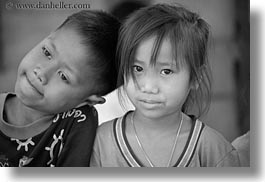 asia, asian, black and white, boys, girls, horizontal, laos, people, river village, villages, photograph